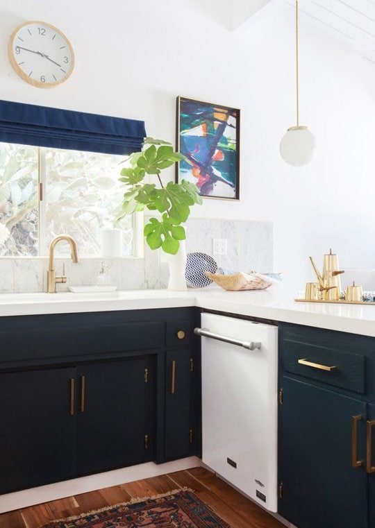 Navy cabinets in a kitchen