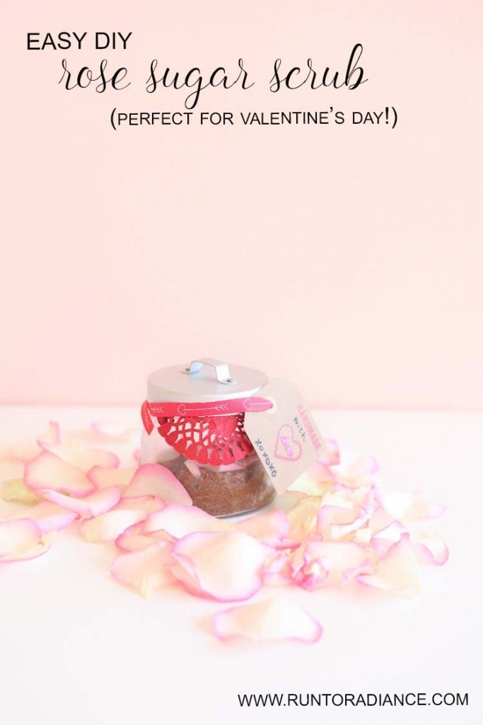Easy DIY sugar scrub...can be made in under 5 minutes and used immediately, or gifted for valentine's day. Definitely gonna make this, sounds amazing!