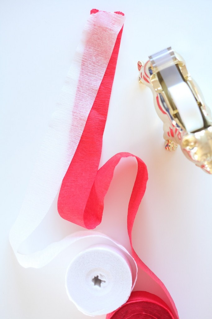 To make no-sew fringe streamers, first tape the streamers together.