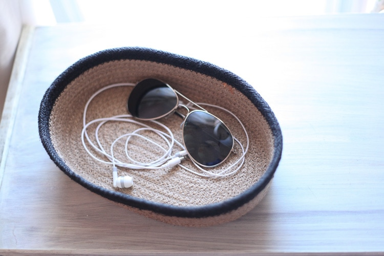 headphones and sunglasses in woven basket / our new bedside tables / www.runtoradiance.com