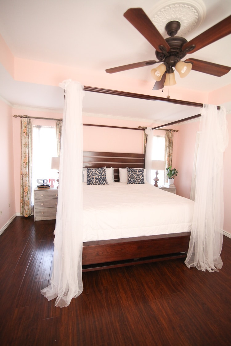 pink bedroom with canopy bed / our new bedside tables / www.runtoradiance.com
