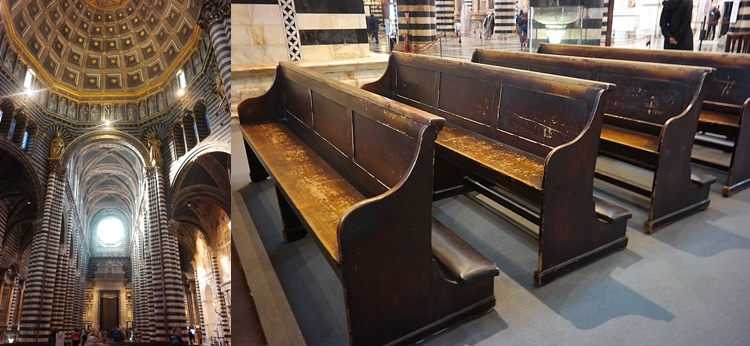 old church pews at Siena Cathedral / Siena Duomo / Church in Italy