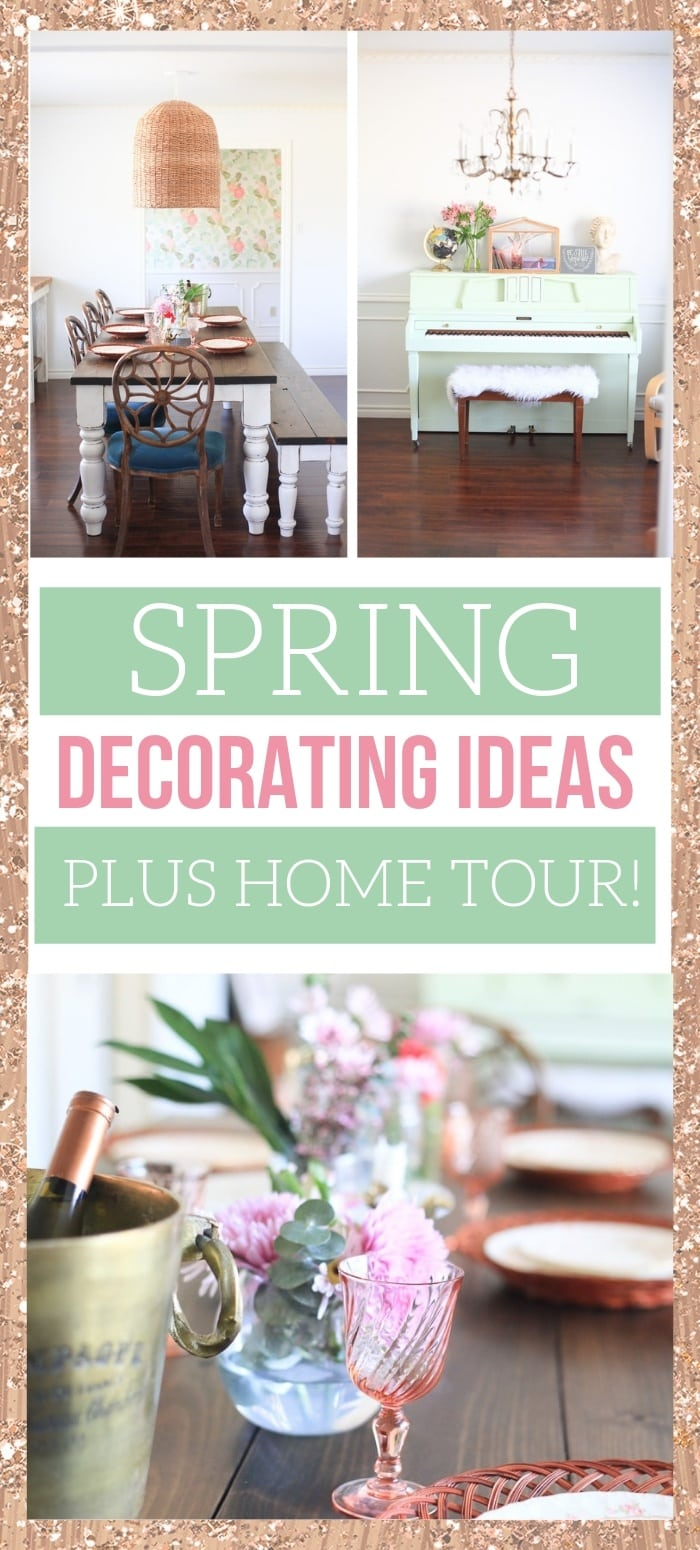 Pretty spring decorating in a home! Including living room and dining room centerpieces - lots of awesome flowers!