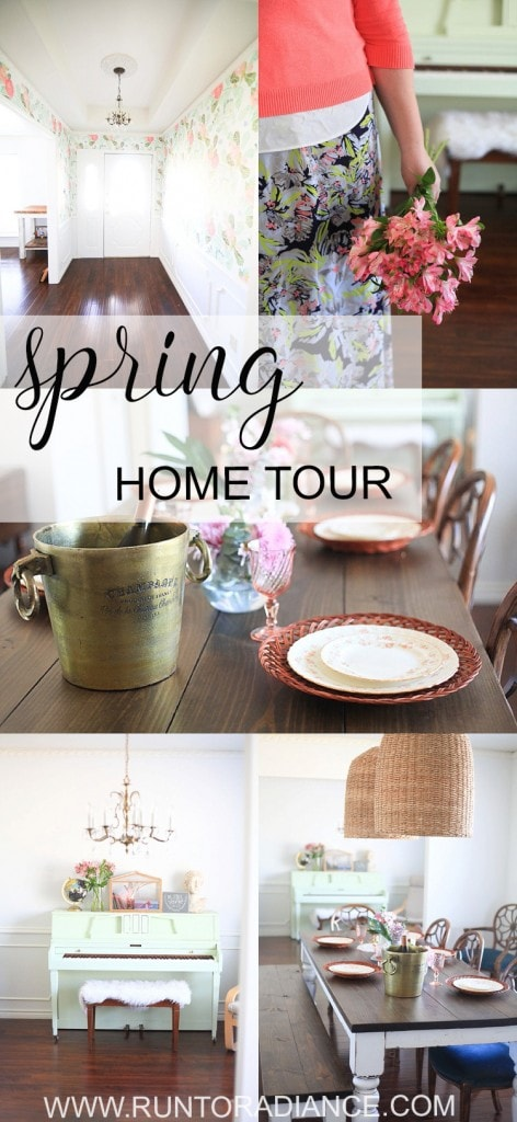 A collage of photos for a Spring home tour featuring a dining room, entry way and DIY painted piano.