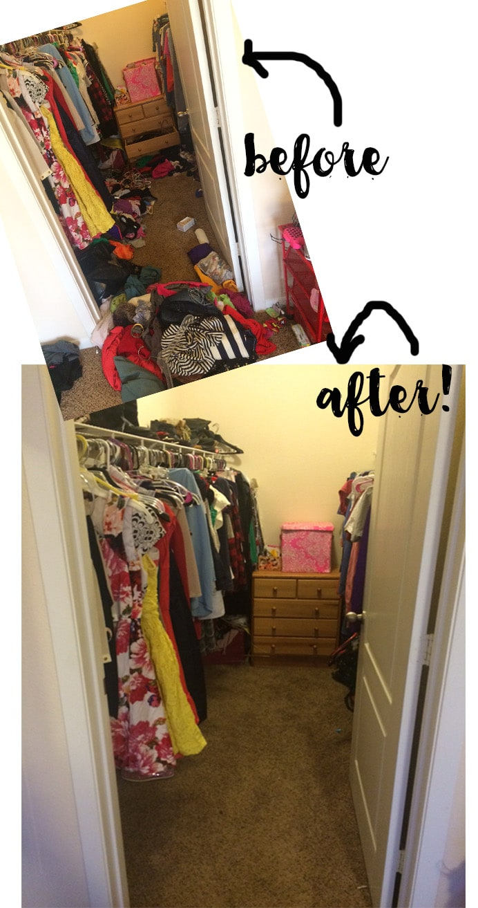 Tal's closet before and after the free 8 week cleaning class from www.runtoradiance.com