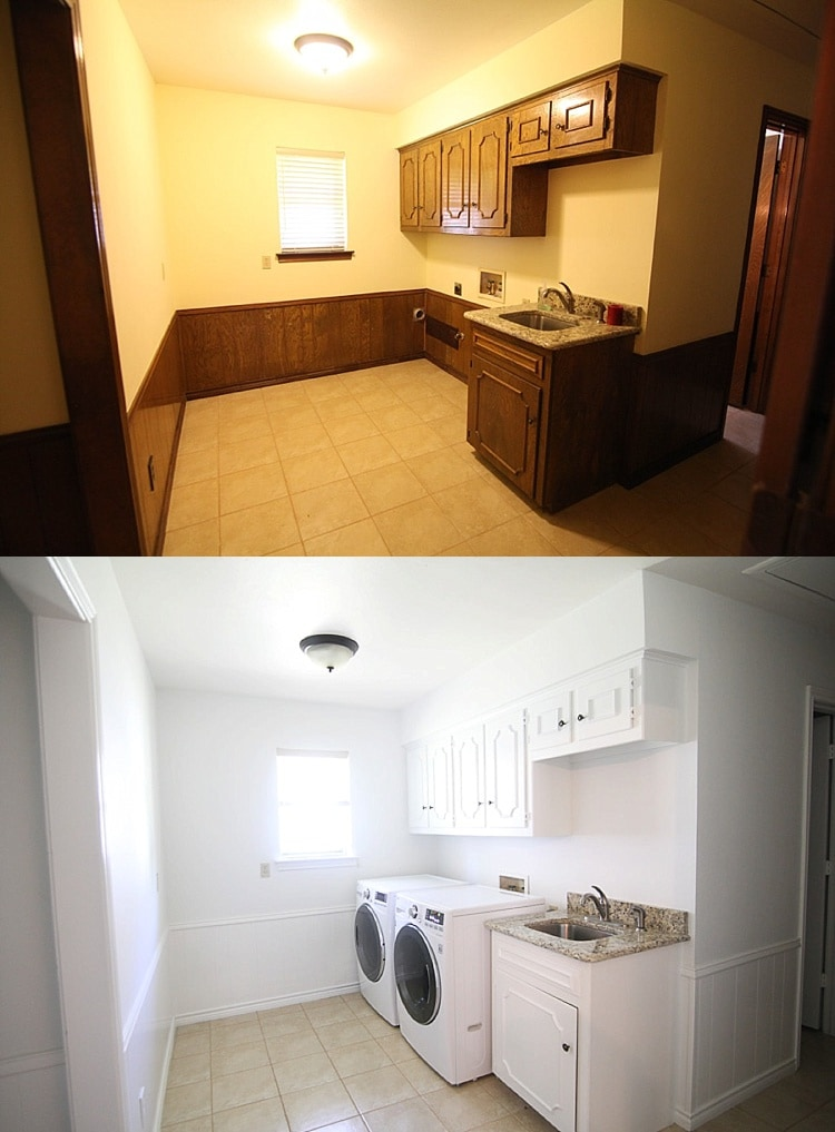 One Room Challenge Week 2 Before & After Painted Laundry Room!