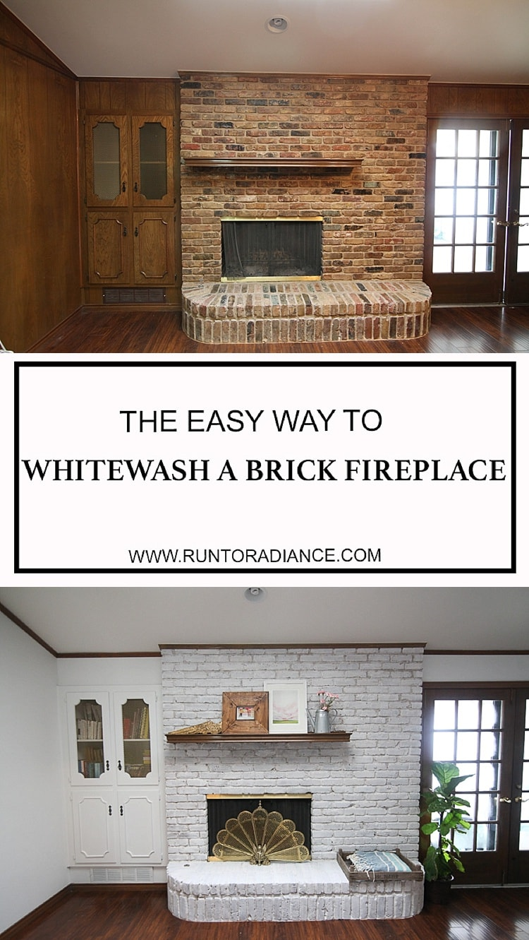 Before and after photos of a whitewash brick fireplace that is painted white