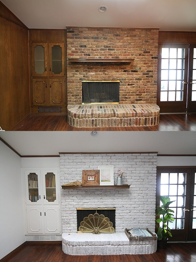 Before and after pictures of a painted brick fireplace.