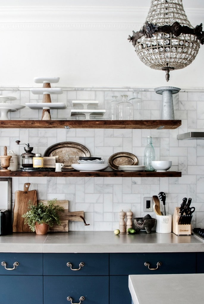Kitchen shelving with eclectic mix of items