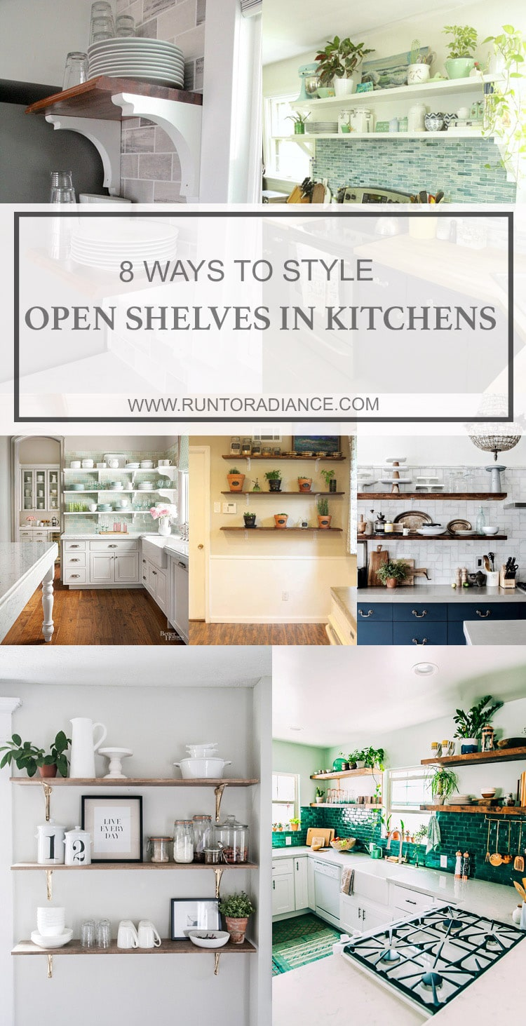 Collage Of Kitchen Shelves Styled Differently