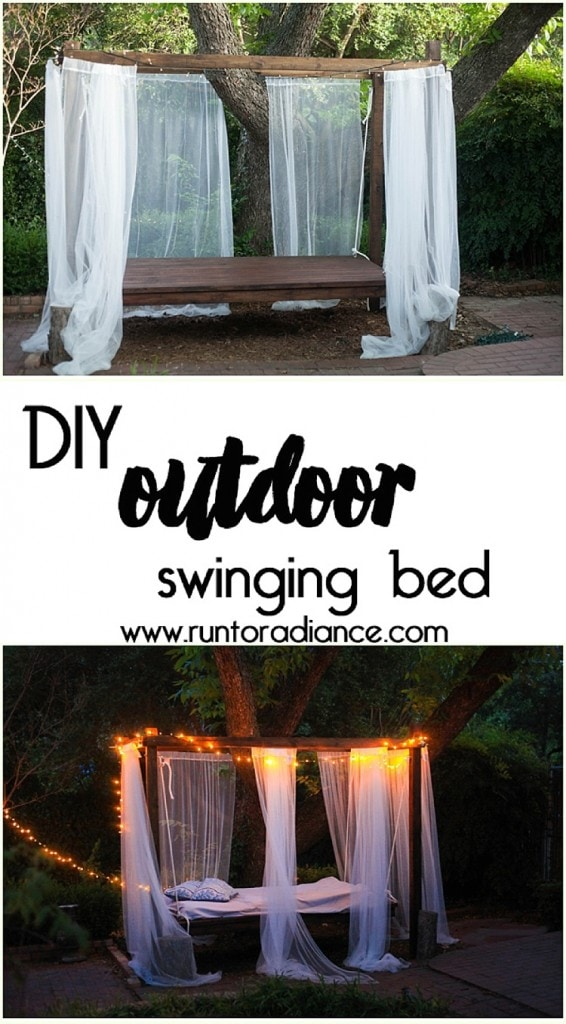 How cool is this? I would love to have this swinging outdoor bed in my backyard - imagine all the naps! :D