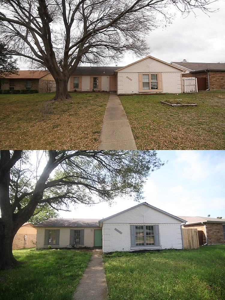 Great flip house diy of a ranch style home in Dallas, Texas.  These before and after pictures are inspiring. Great advice from the remodeling couple