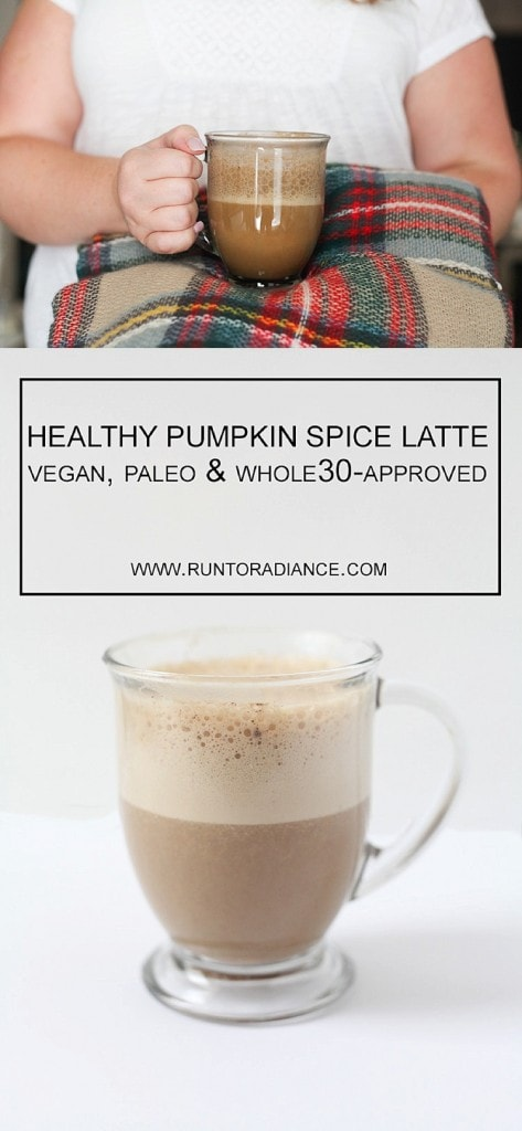 This healthy pumpkin spice latte is dairy free and is so good! Paleo, dairy free, vegan and Whole30-approved!