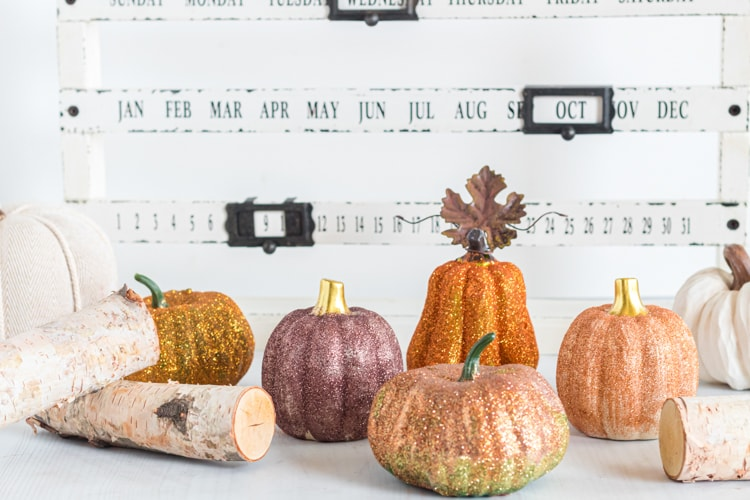 DIY glitter pumpkins as fall decor.