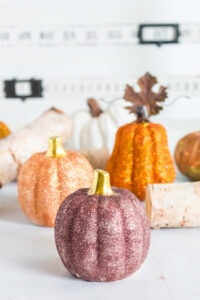 Group of DIY glitter pumpkins - easy fall craft.