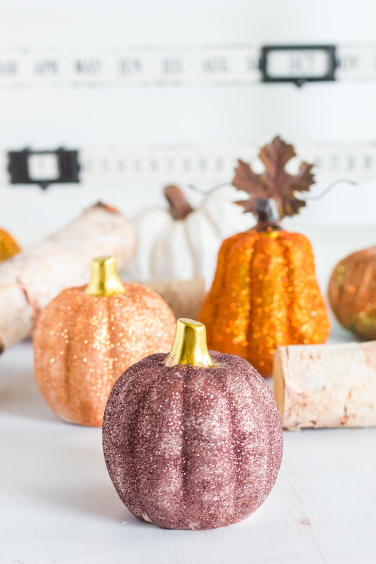 Group of DIY glitter pumpkins - easy fall craft.