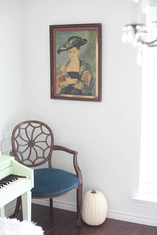 chic white pumpkin as beautiful cheap fall decor in the living room