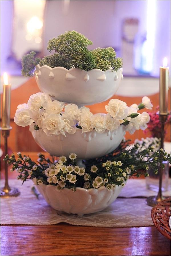 seasonal flowers in stacked bowls