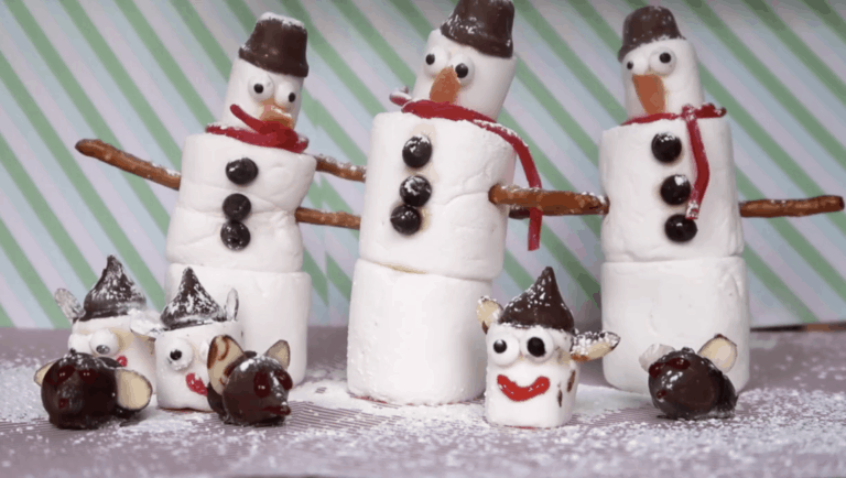 3 kids christmas treats - chocolate mice, marshmallow elves and marshmallow snowmen.