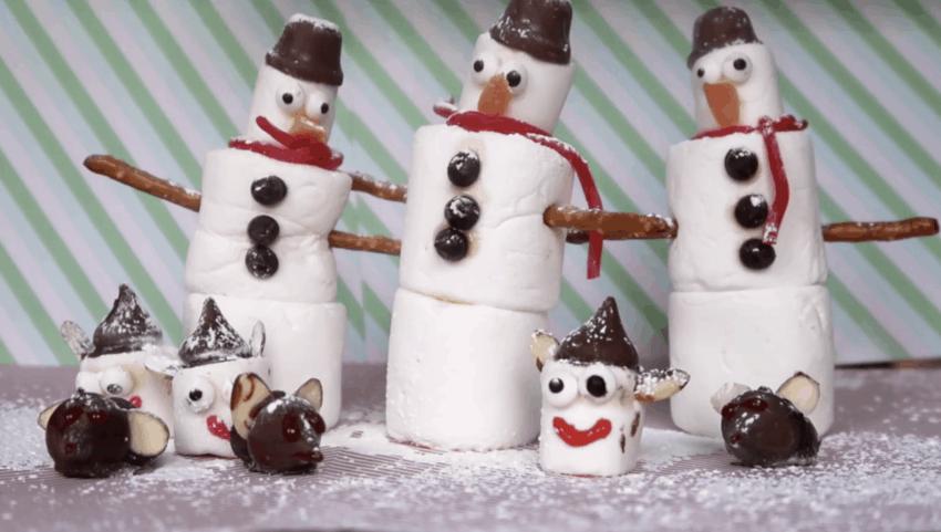 3 kids christmas treats - chocolate mice, marshmallow elves and marshmallow snowmen.