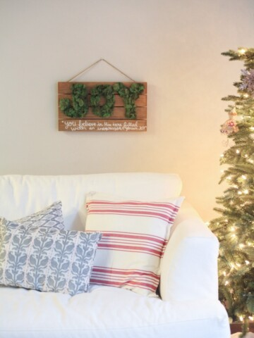 This easy Christmas craft is so cute! I never thought of using moss like this - perfect for Christmas. Love the JOY!!