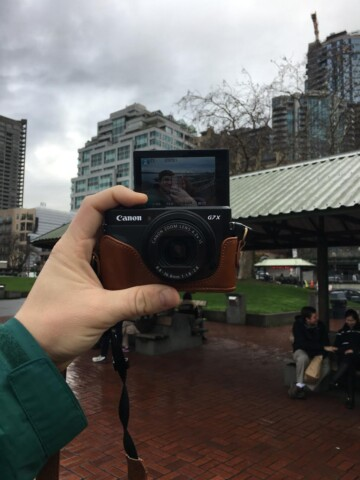 The canon G7 x mark ii is awesome! I love the flip screen and the quality of the video - perfect for travel!