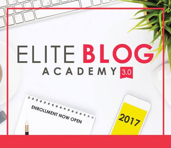 Elite Blog Academy is what allowed me to finally leave my job and become a full time blogger after three years of struggling on my own. It's only available once a year - this is the day! Don't miss it!
