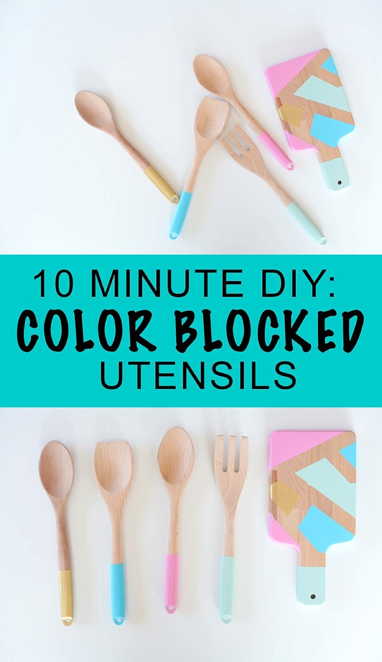 This 10 minute diy is a quick and easy craft project that anyone can do! I love the look of color blocked utensils - this is a great dollar store craft and is a great diy gift idea.