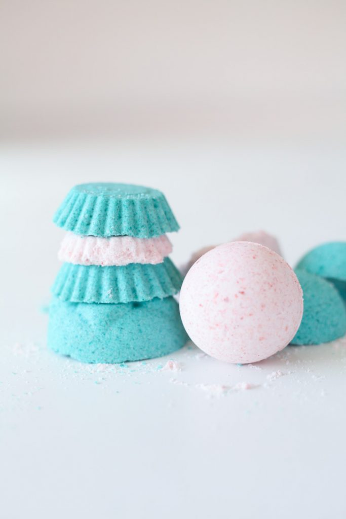 blue and pink homemade bath bombs