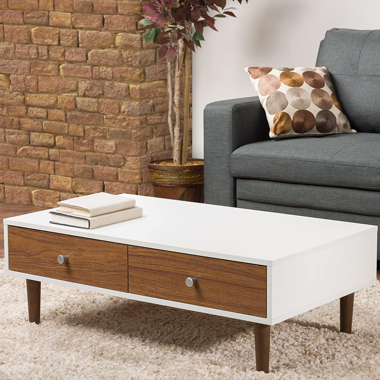Cheap coffee tables under 100 that work for every style for Modern living room no coffee table