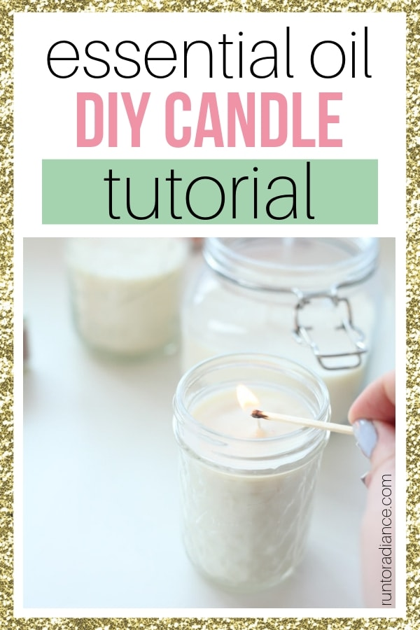 Pinterest graphic for how to make diy essential oil candles.