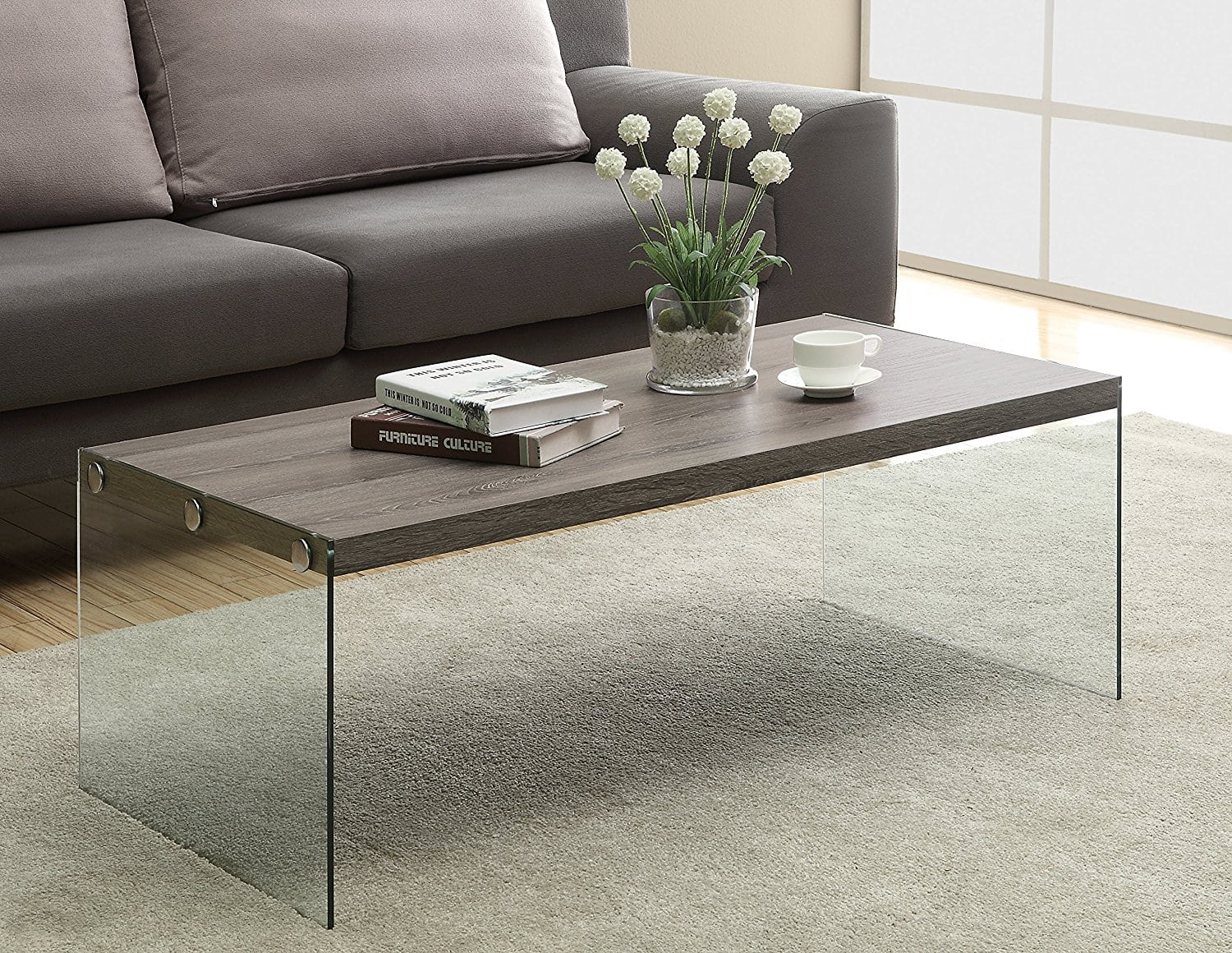 Cheap coffee tables under 100 that work for every style for Glass living room table