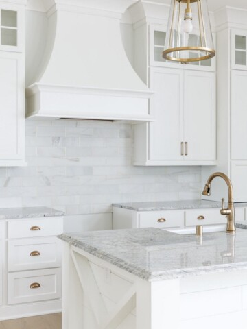 LOVE this kitchen! The counters are a granite called Salinas. Beautiful!