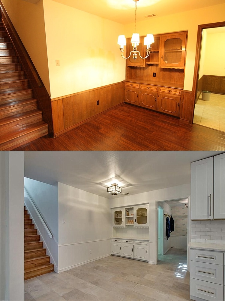 Small galley kitchen remodel before and after! This farmhouse style makeover with an island and breakfast nook is the perfect layout for opening up a galley kitchen. Love it!