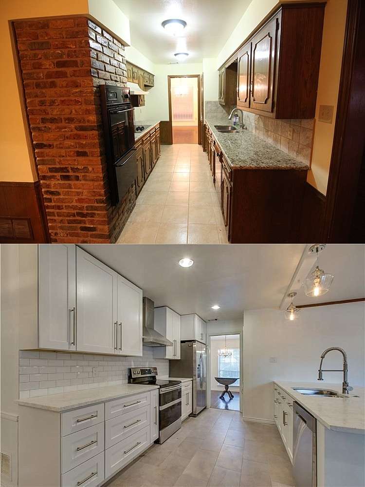 Galley kitchen remodel before and after picture