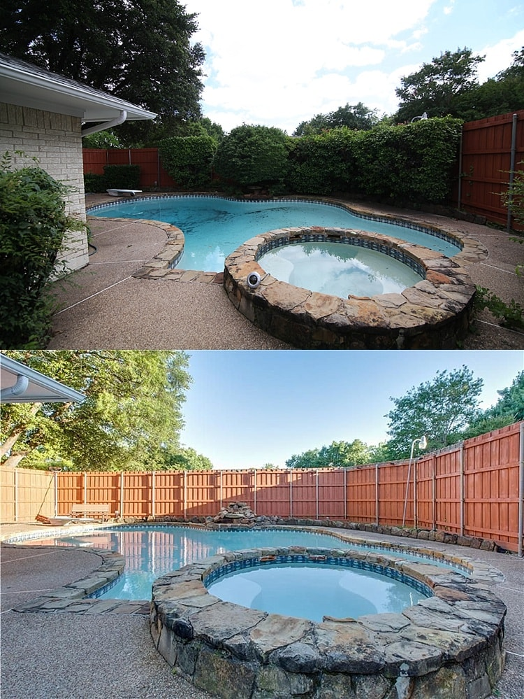 House remodel on a budget! These before and after pictures are amazing and full of DIY ideas. Beautiful pool and deck remodel!