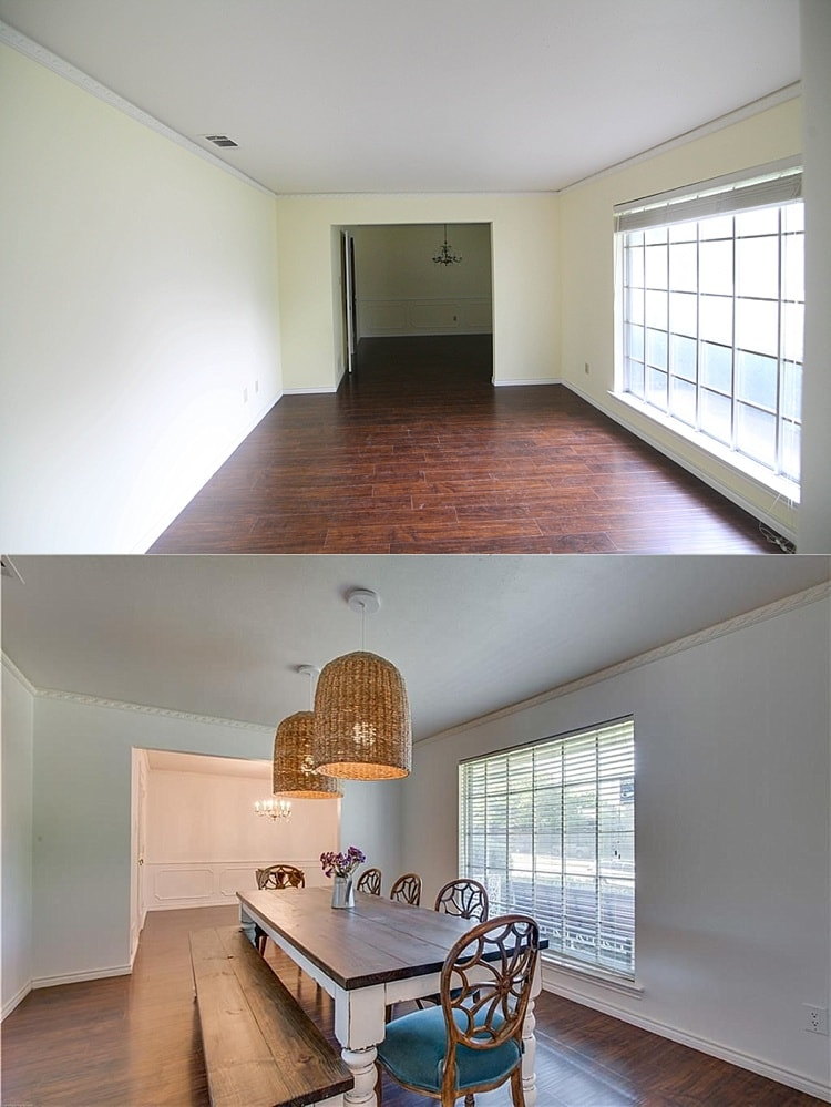 House remodel on a budget! These before and after pictures are amazing and full of DIY ideas. I really like this dining room and the wicker lights!