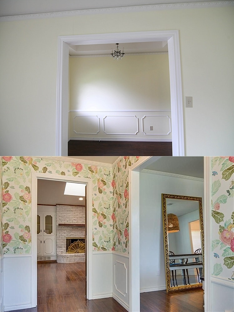 House remodel on a budget! These before and after pictures are amazing and full of DIY ideas. This entry way remodel with floral wallpaper is so fun!