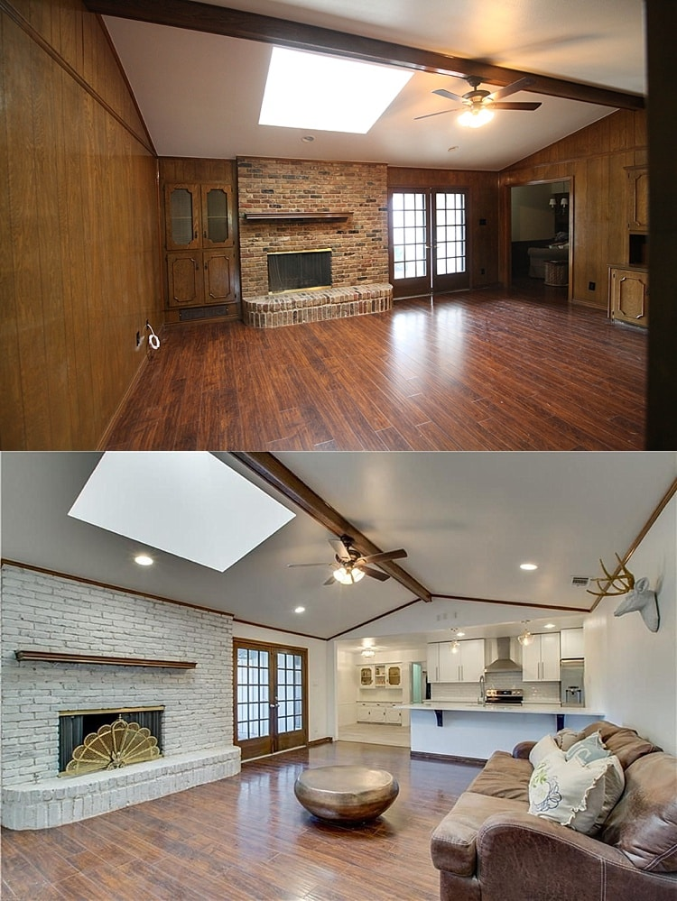 Entire house before and after pictures ranch home flip - Living room renovation before and after ...