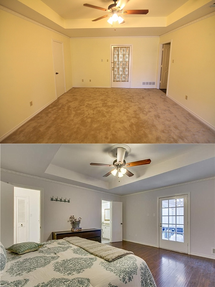 House remodel on a budget! These before and after pictures are amazing and full of DIY ideas. Love this master bedroom makeover!