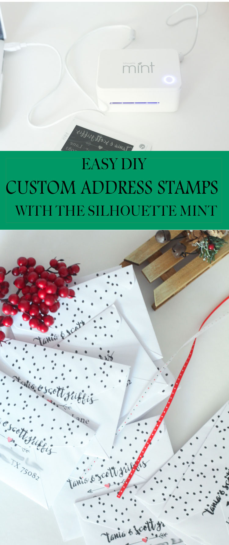 How to make a custom DIY Address stamp! With all the Christmas cards I have to send this year, this would come in handy—looks super easy! Perfect for Christmas card idea! #chirstmasdiy #christmascards
