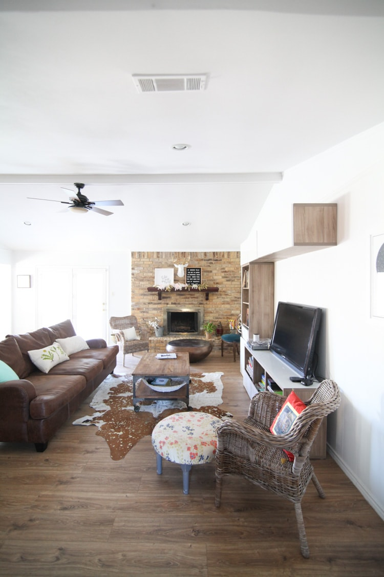 Ranch Style Living Room Before and After Pictures Makeover on a