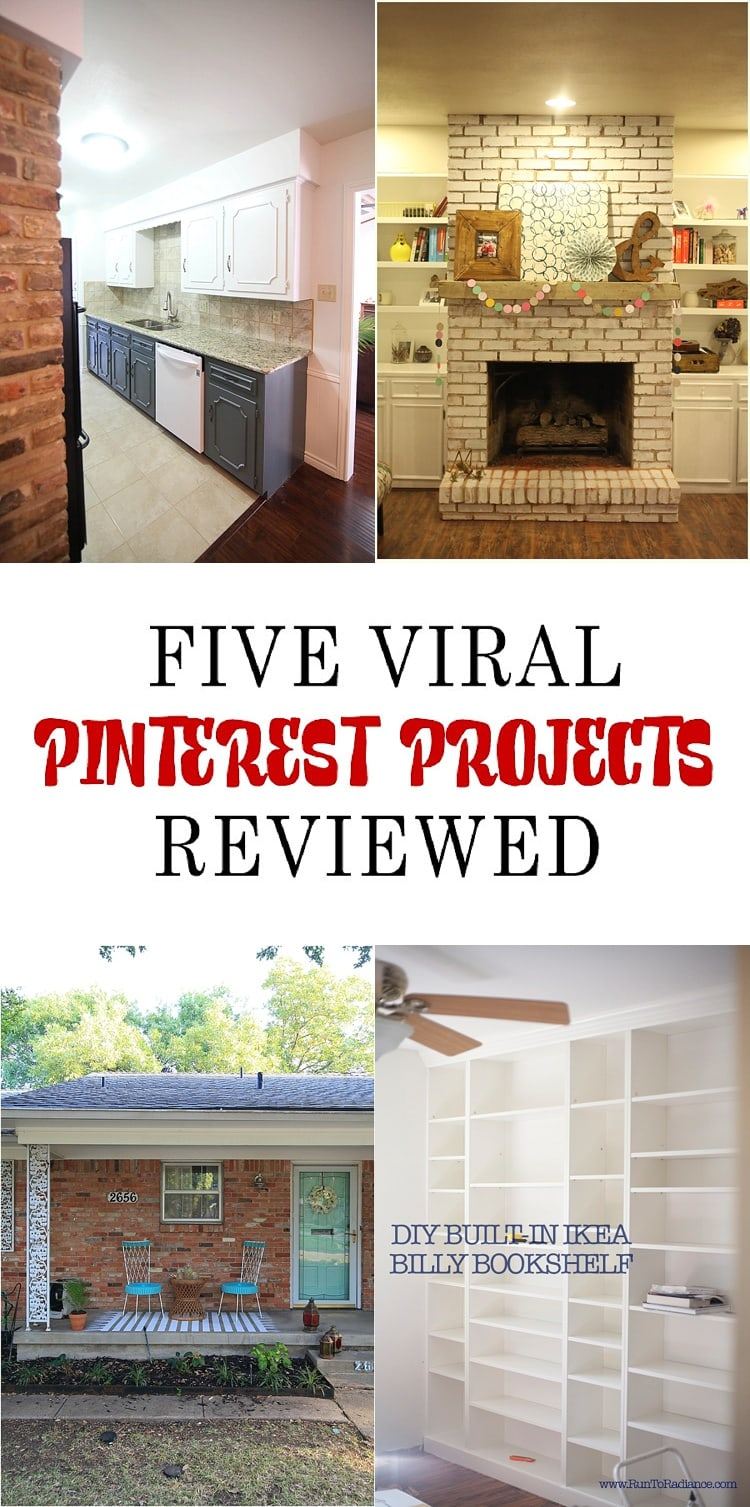 Wondering how viral Pinterest projects hold up? Check out this painted kitchen cabinet review, how to install a floating mantle, an ikea pantry hack and more!