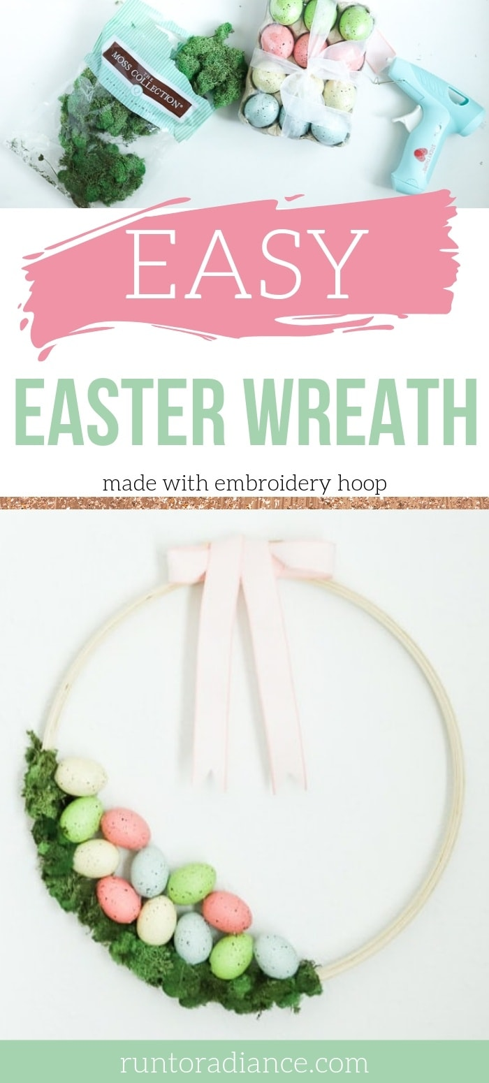 DIY easter wreath with embroidery hoop and moss with eggs.