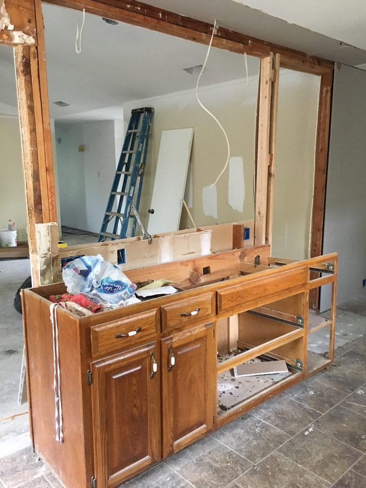 kitchen with wood cabinets under construction