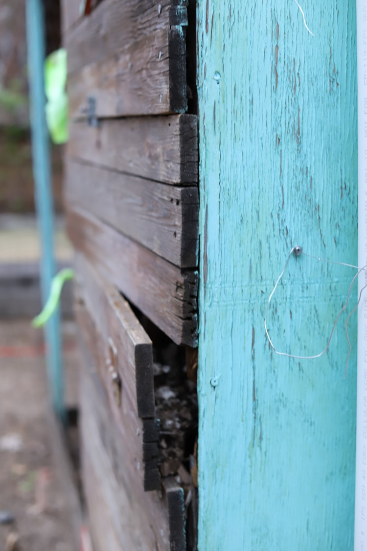 chicken coop with rotting boards