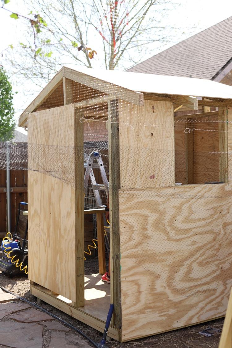 chicken coop being built
