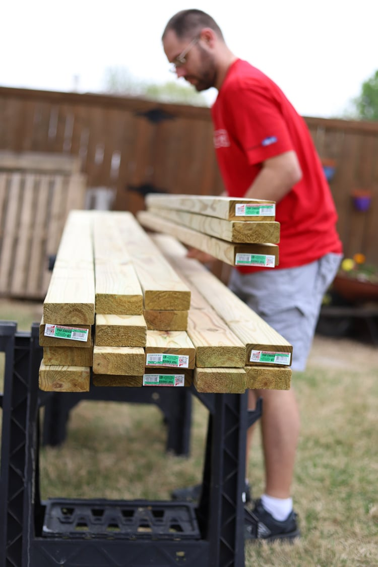 Pile of 2x4 boards