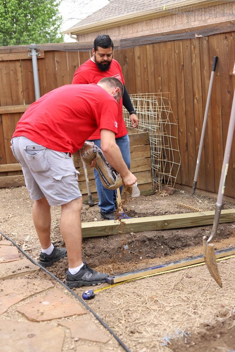 foundation work in a backyard