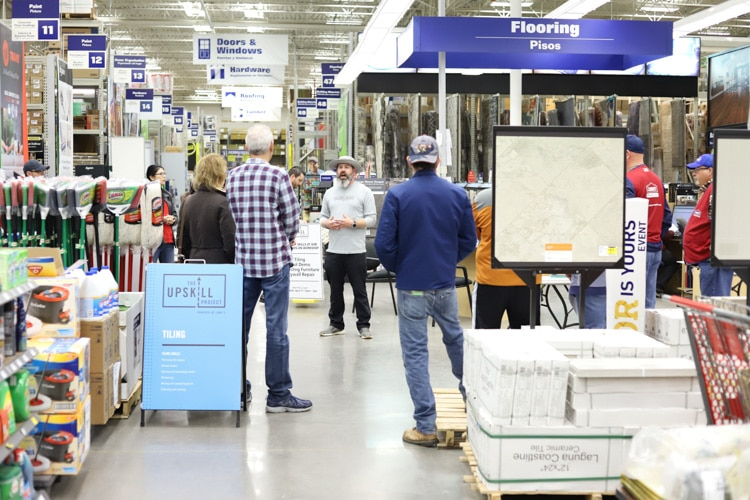 crowd of people at a home improvement store - lowe's